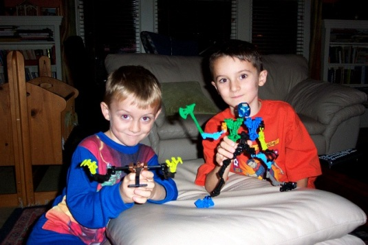 Gray and Jack with Bionicles